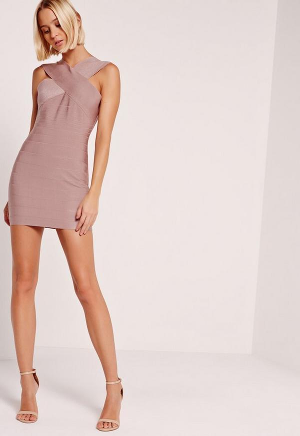 Petite Exclusive Cross Front Sleeveless Bandage Dress Pink