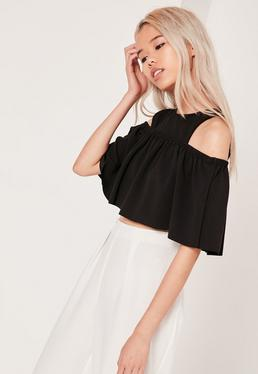 Petite Exclusive Ruffle Bardot Crop Black