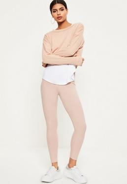 Petite Exclusive Pink Ribbed Leggings