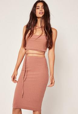 Pink Petite Exclusive Ribbed Midi Skirt