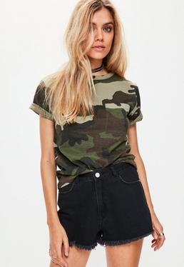 Petite Exclusive Camouflage T-Shirt in Khaki