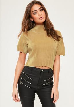 Petite Exclusive Gold High Neck Pleated Top
