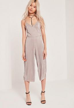 Petite Exclusive Pleated Culotte Jumpsuit Nude