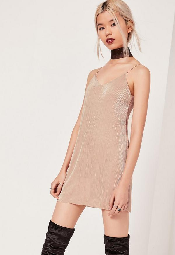 Petite Exclusive Pleated Cami Dress Pink