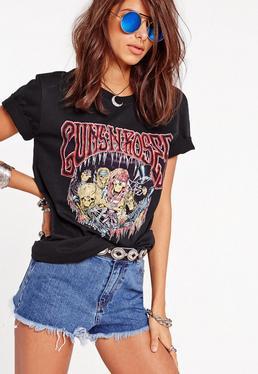 T-shirt noir squelettes guns n roses Petite