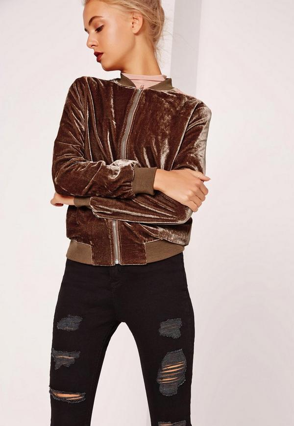 Petite Velvet Bomber Jacket Brown