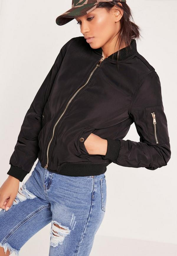 Petite Black Faux Shearling Lined Bomber Jacket | Missguided