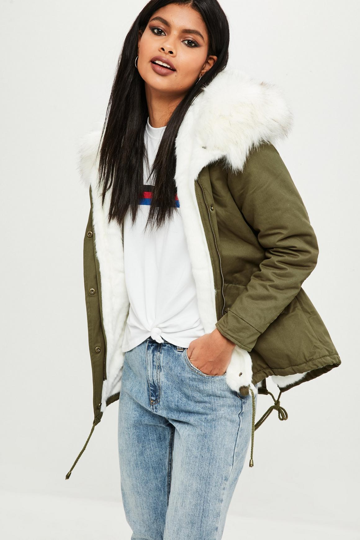 Petite Khaki Faux Fur Lined Parka Coat | Missguided