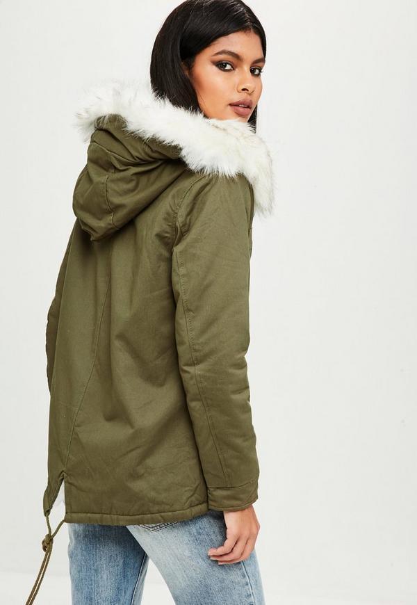 Petite Khaki Faux Fur Lined Parka Coat | Missguided