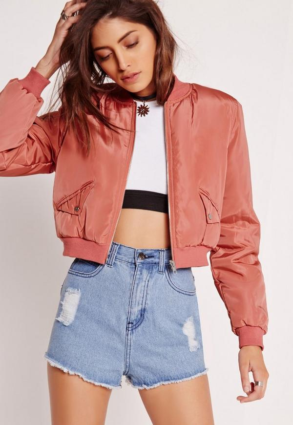 Petite Cropped Bomber Jacket Pink