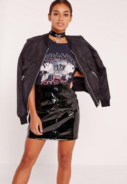 Mini-jupe noire en PVC Petite