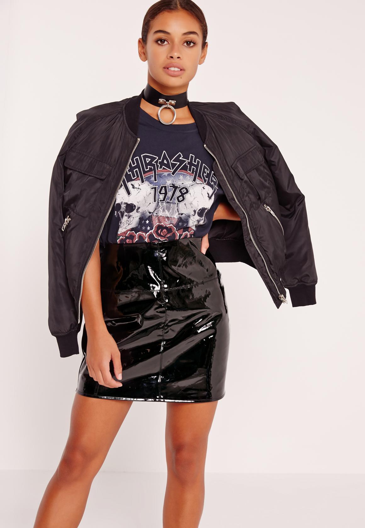 Petite Exclusive PVC Mini Skirt Black | Missguided