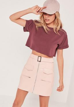 Petite Exclusive Burgundy Roll Sleeve Crop Top