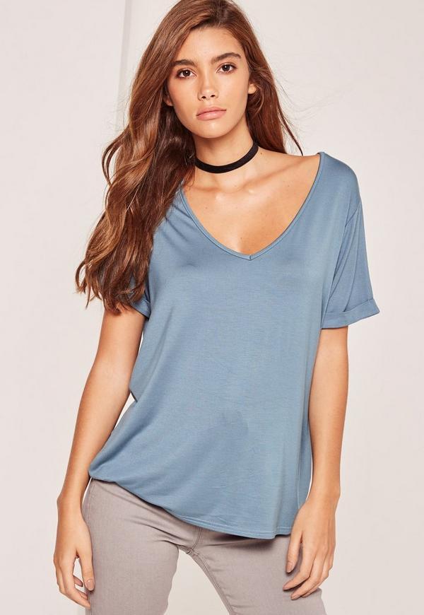 Petite Exclusive Blue V-Neck Boyfriend T-Shirt