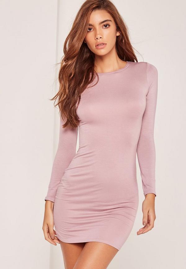 Petite Long Sleeve Jersey Dress Purple
