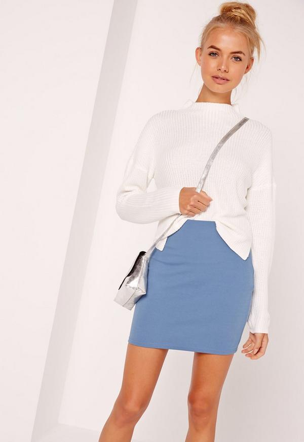 Petite Scuba Mini Skirt Blue