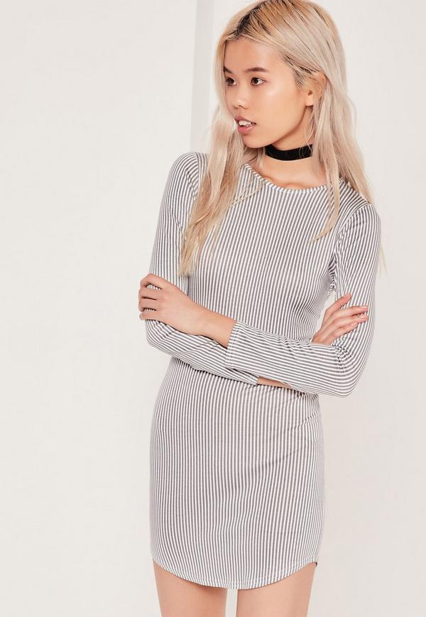 Petite Striped Curve Hem Jersey Dress White