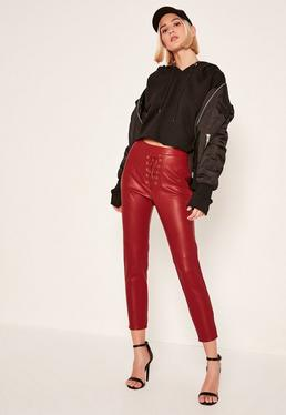 Petite Exclusive Red Faux Leather Lace Up Trousers