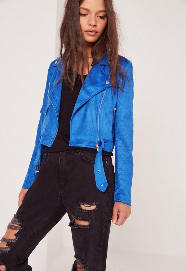 Petite Faux Suede Biker Jacket Blue