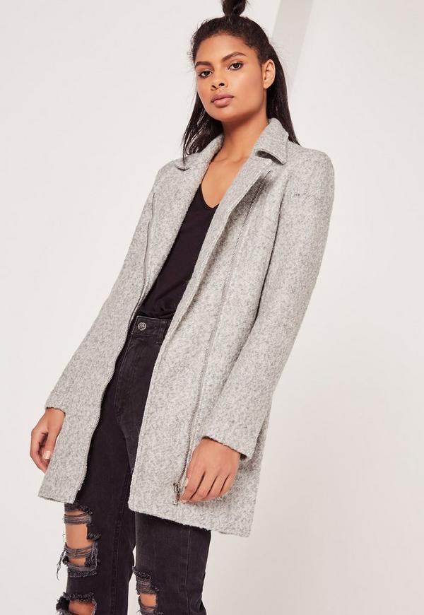 Grey Petite Faux Wool Biker Coat | Missguided
