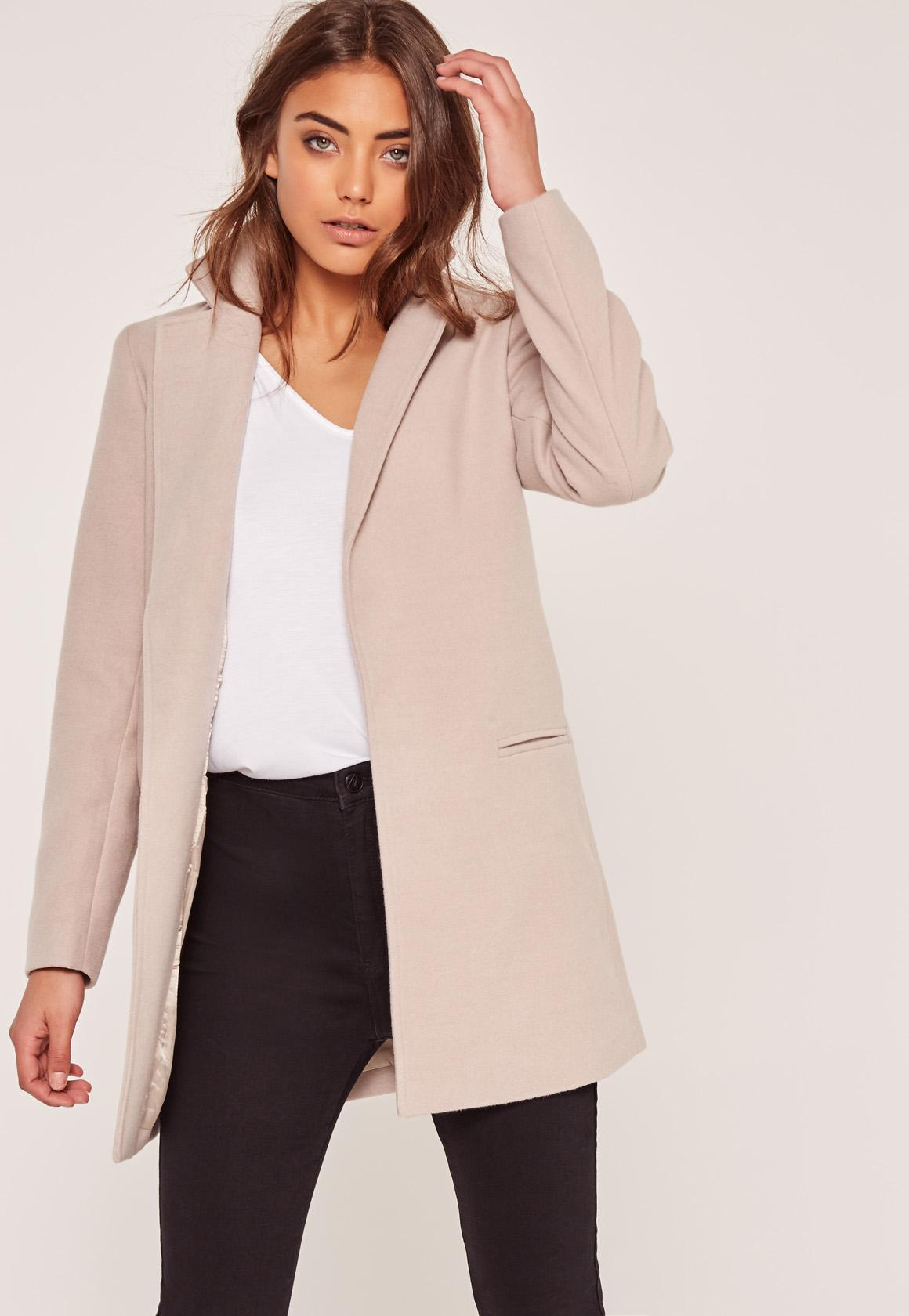 Nude Petite Short Tailored Faux Wool Coat | Missguided
