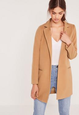 Camel Petite Short Tailored Faux Wool Coat