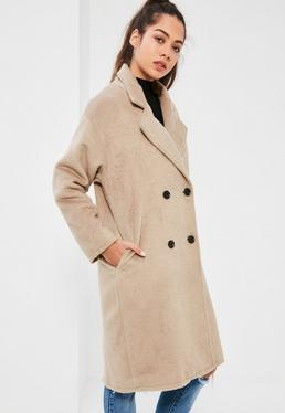 Petite Camel Cocoon Double Breasted Faux Wool Coat
