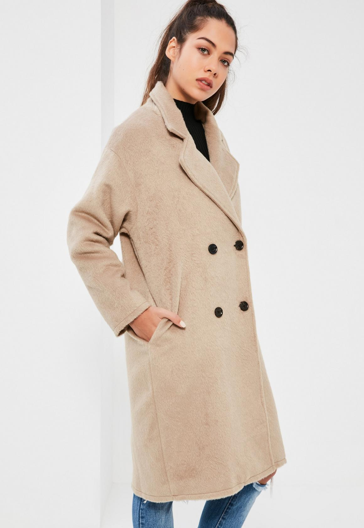 Petite Camel Cocoon Double Breasted Faux Wool Coat | Missguided