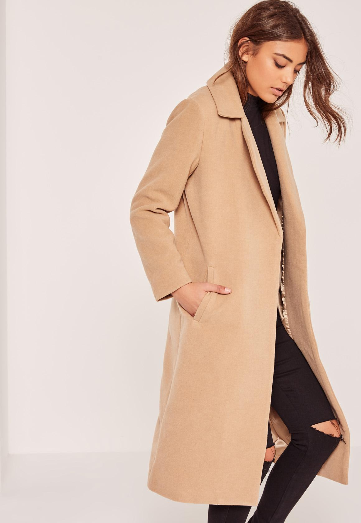 Petite Brown Longline Faux Wool Duster Coat | Missguided Ireland