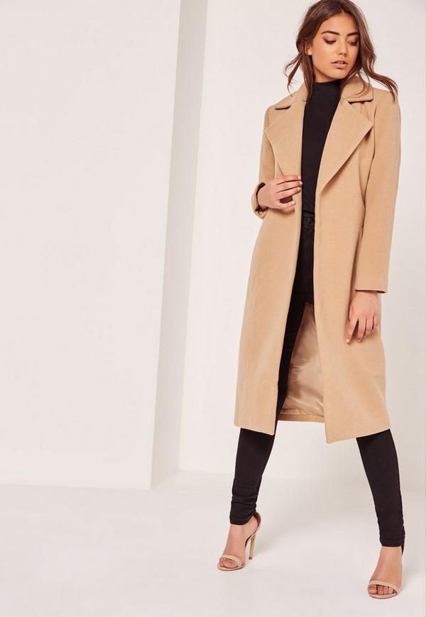Petite Brown Longline Faux Wool Duster Coat