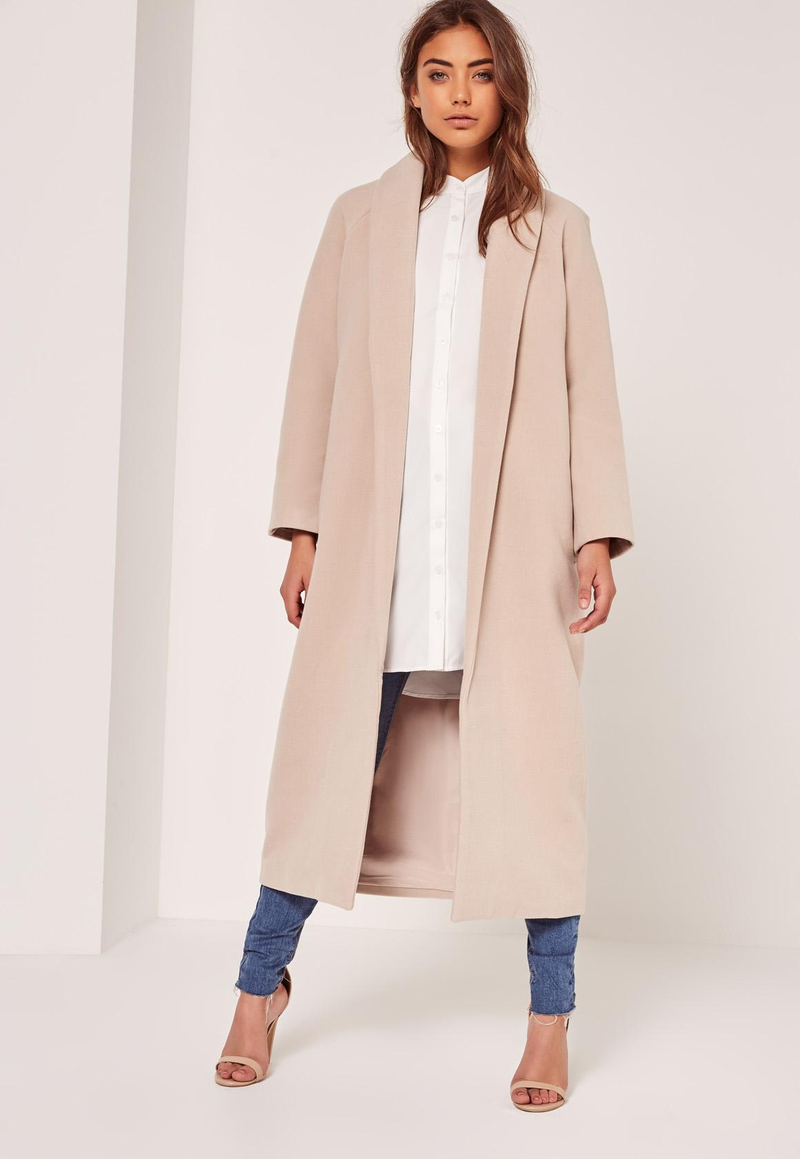 Petite Nude Shawl Collar Faux Wool Maxi Coat | Missguided