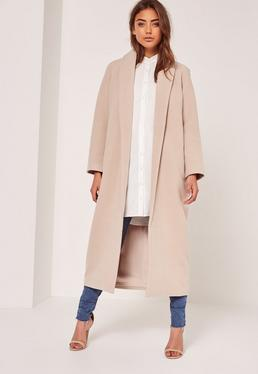 Petite Nude Shawl Collar Faux Wool Maxi Coat