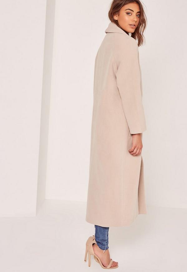 Petite Nude Shawl Collar Faux Wool Maxi Coat - Missguided