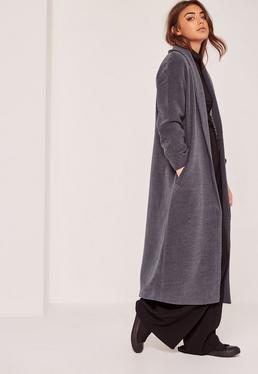 Manteau long gris en fausse laine col châle