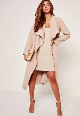 Petite Camel Oversized Waterfall Duster Coat