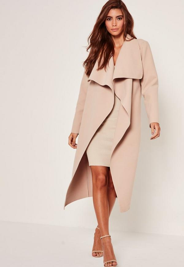 Petite Camel Oversized Waterfall Duster Coat | Missguided