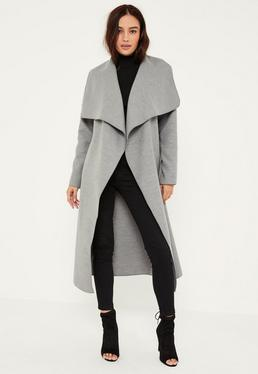 Petite Grey Oversized Waterfall Duster Coat