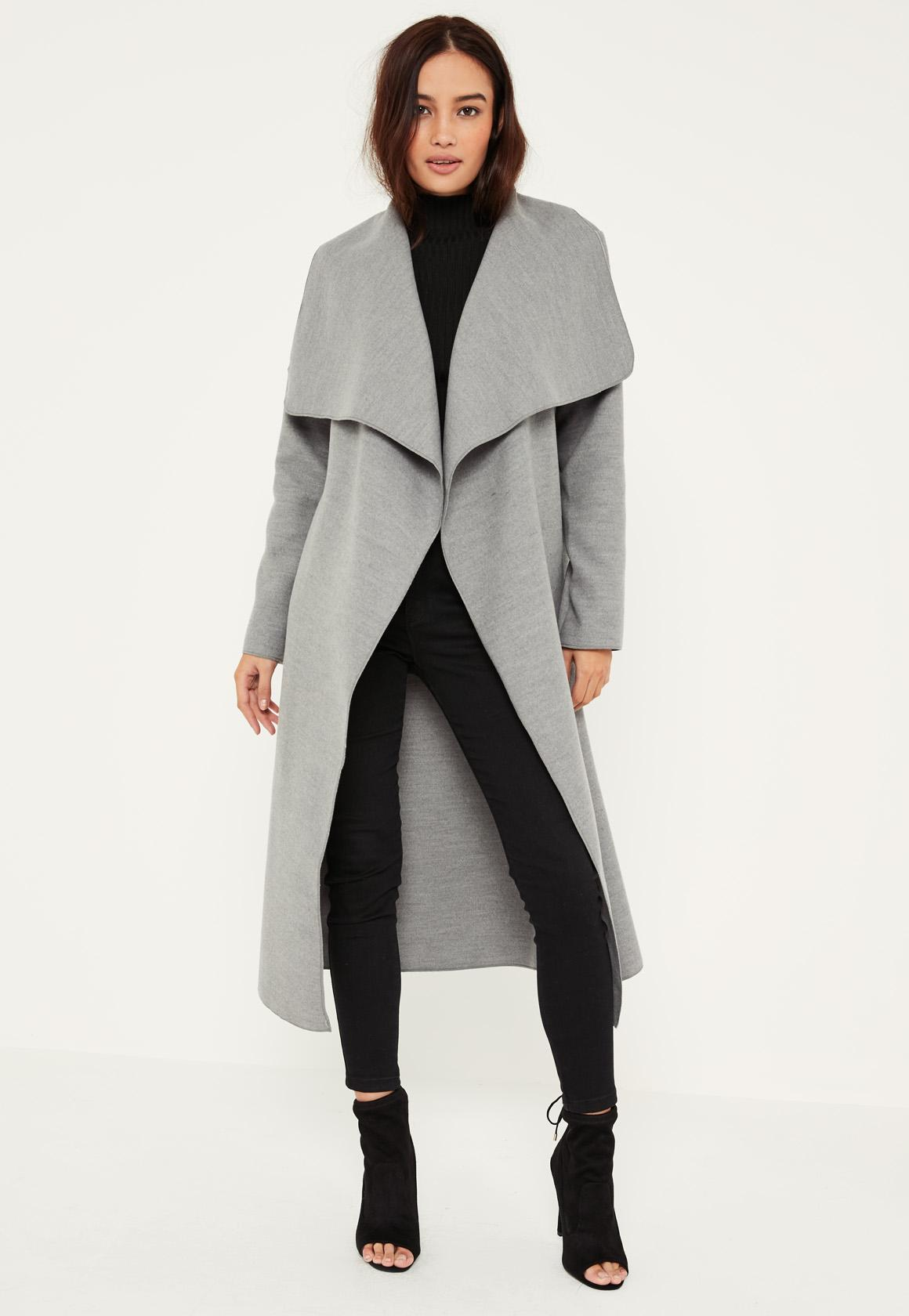 Petite Grey Oversized Waterfall Duster Coat | Missguided