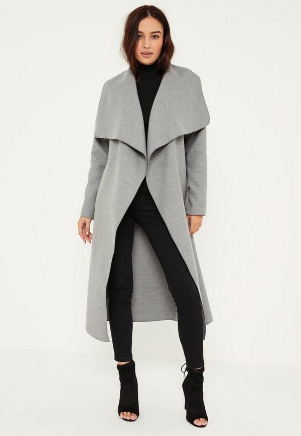 petite grey oversized waterfall duster coat missguided. Black Bedroom Furniture Sets. Home Design Ideas