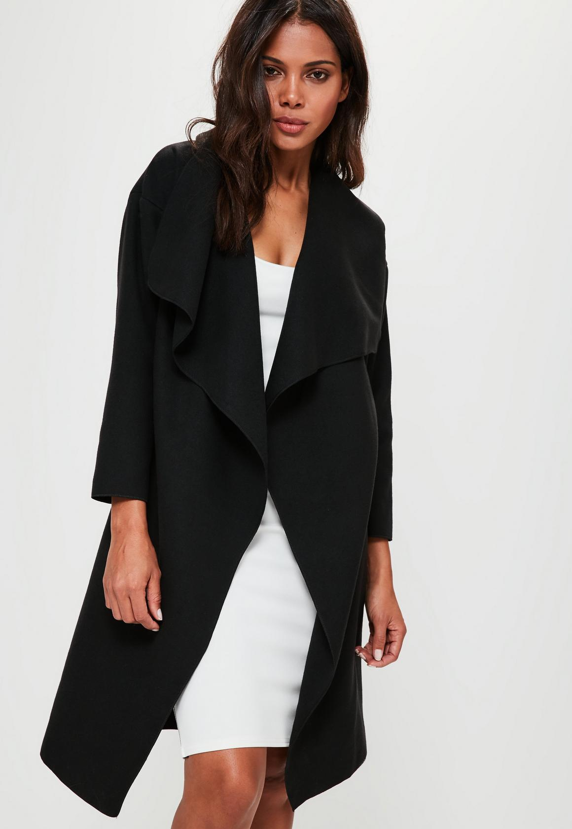 Petite Black Oversized Waterfall Duster Coat | Missguided