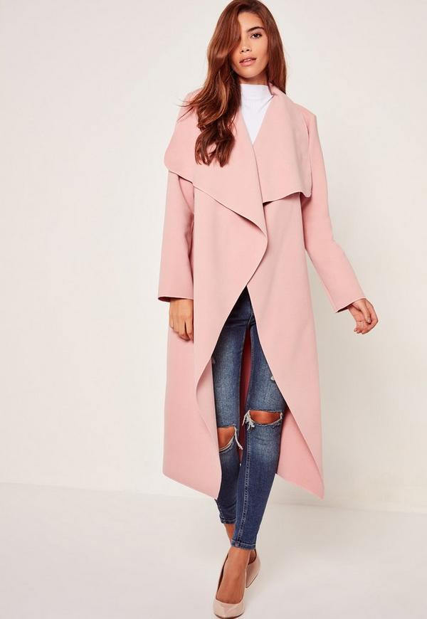 Petite Pink Oversized Waterfall Duster Coat