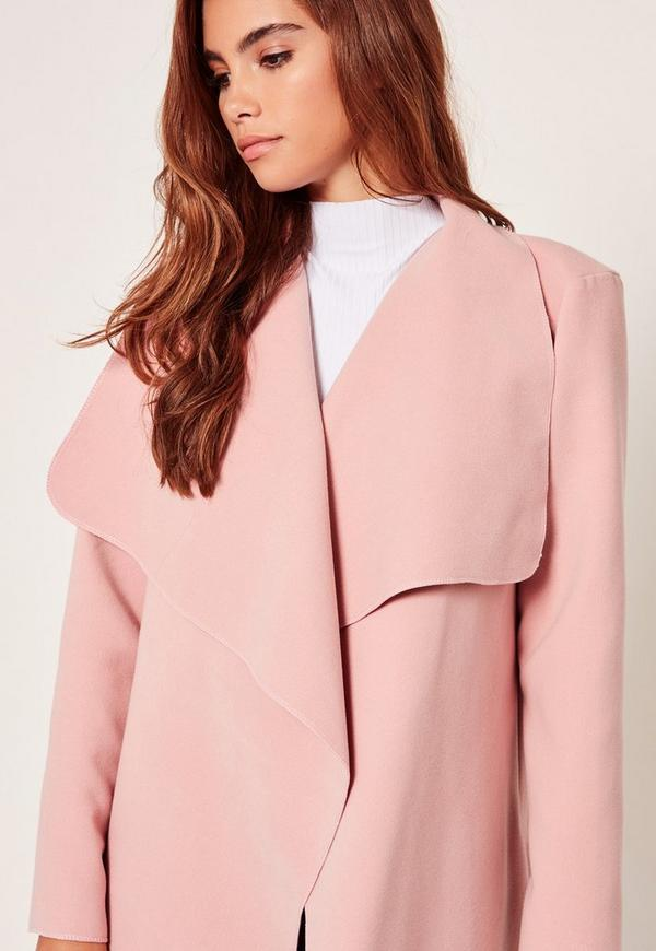 Petite Pink Oversized Waterfall Duster Coat   Missguided