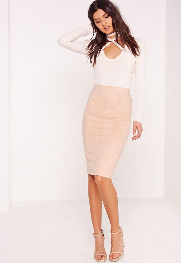 Petite Faux Suede Midi Skirt Nude