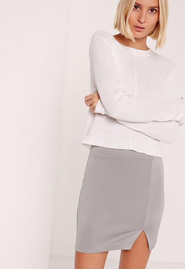 Petite Scuba Split High Waisted Mini Skirt Grey