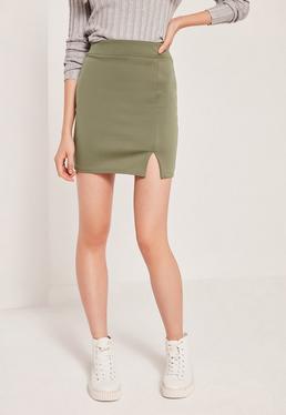Petite Scuba Split High Waist Mini Skirt Khaki