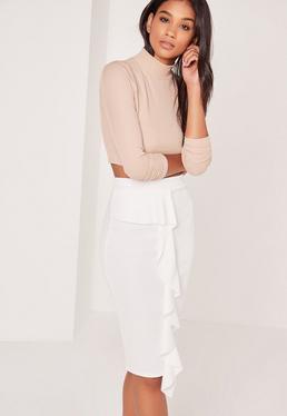 Petite Scuba Midi Skirt White