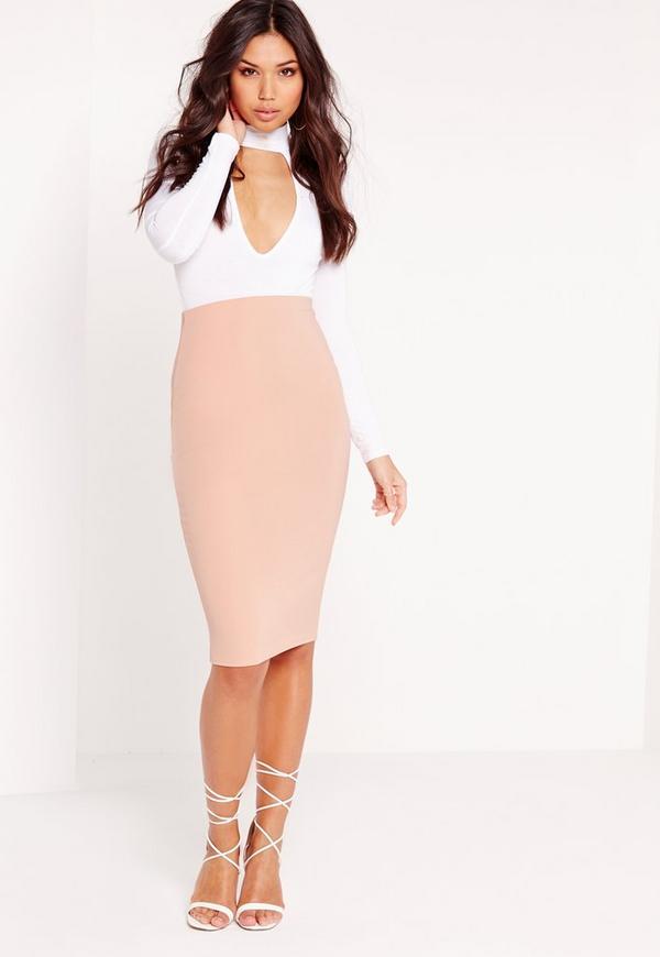 Petite Scuba Midi Skirt Nude