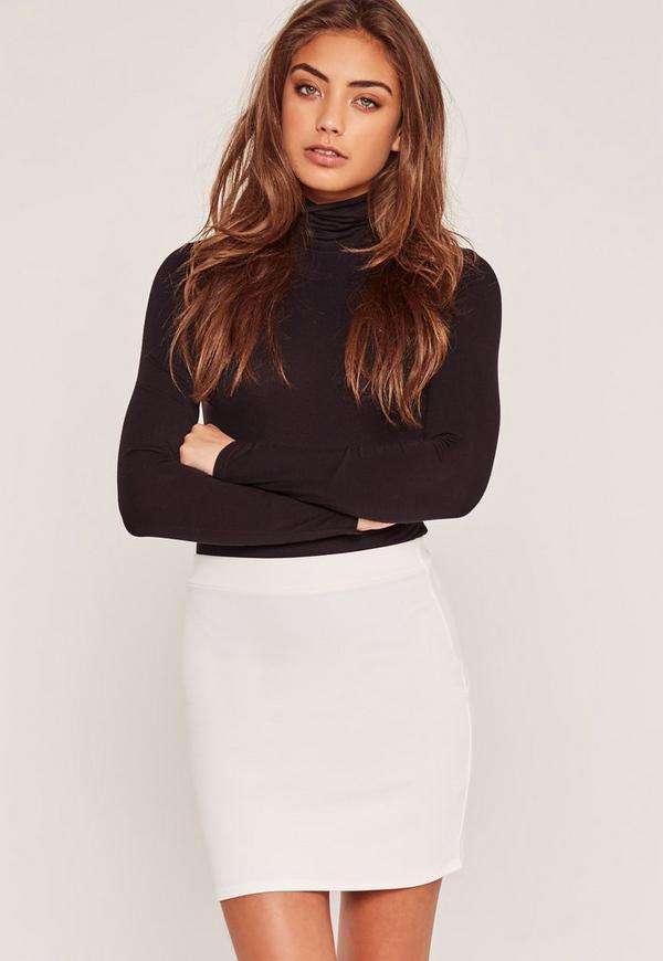 Petite Stretch Crepe Mini Skirt White