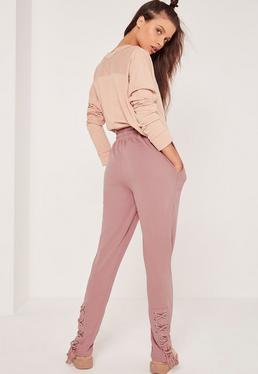Petite Lace Up Front Joggers Pink