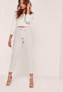 Petite Grey Pleated Tie Waist Belt Cigarette Pants